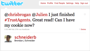 Trust Agents Tweet from @SchneiderB