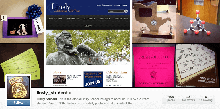linsly-student-instagram-account