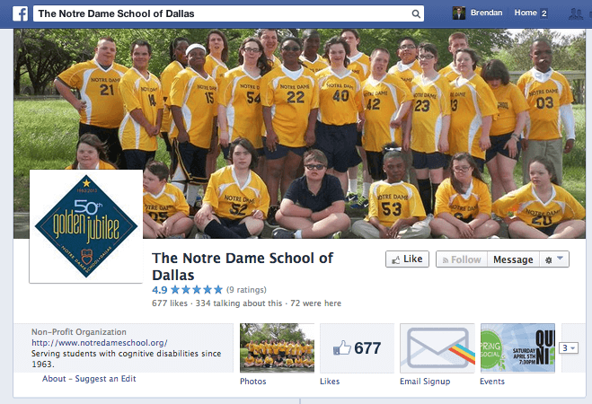 School Spotlight: The Notre Dame School of Dallas Facebook Page
