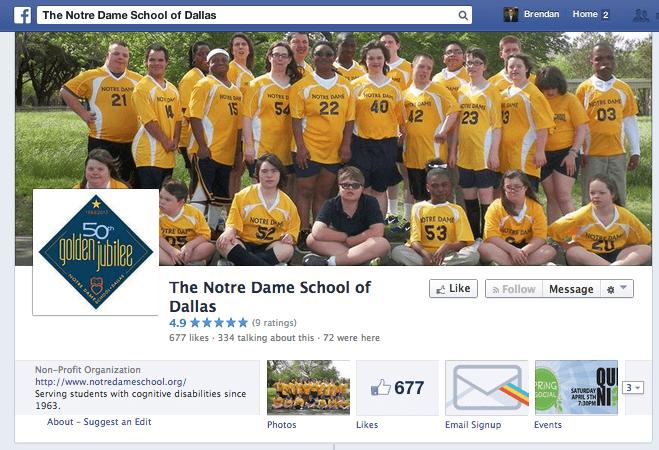 School Spotlight: The Notre Dame School of Dallas Facebook Page