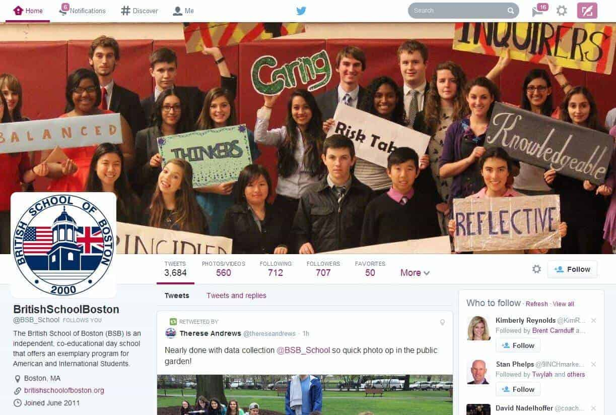 School Spotlight: British School of Boston Twitter Account