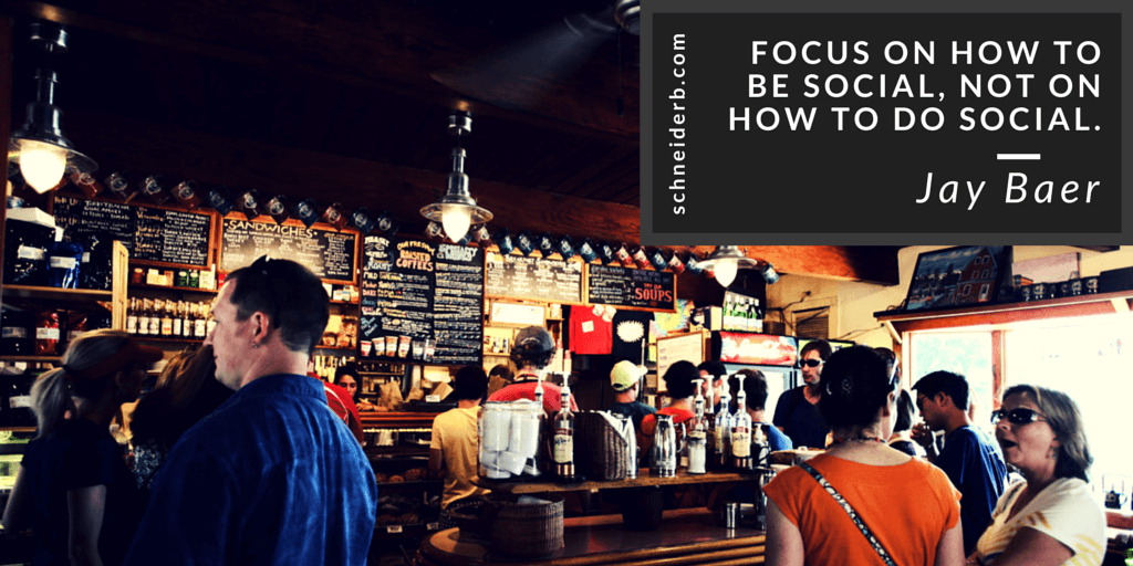Focus on how to be social, not on how to do social.