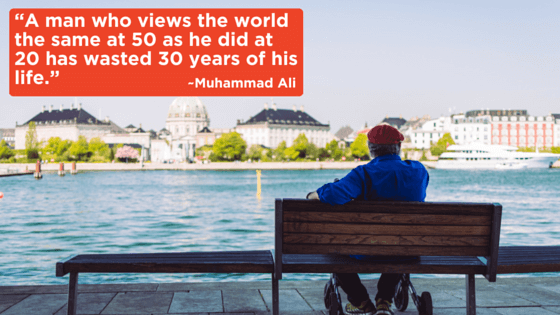 A man who views the world the same at 50 as he did at 20 has wasted 30 years of his life